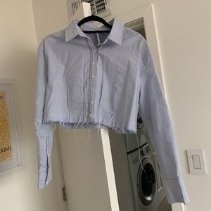 Free people pin stripe cut off button up